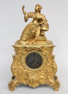 French Gilded Bronze Figural Mantel Clock : Lot 50