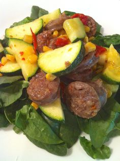 My family LOVED this. My hubby immediately requested it again. :) Spicy Bratwurst and Zucchini Salad Paleo Recipes, Delicious Recipes, Cooking Recipes, Yummy Food, Zucchini Salad, Bratwurst, Salad Ingredients, Soup And Salad, Sausage