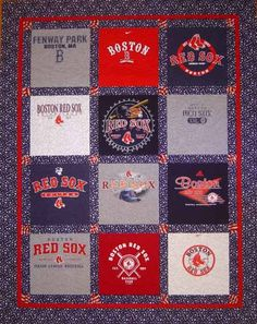 How to make a t-shirt quilt. For all of E's cardinals shirts when they are too small.