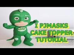 gekko pj masks cake topper fondant tutorial - super pigiamini in pasta di zucchero torta - YouTube