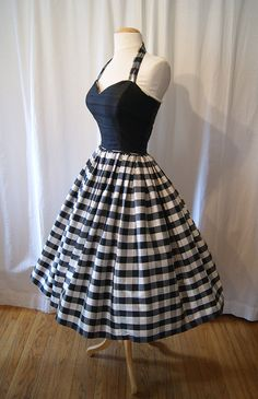 Designer 1980's does 1950's black and white silk gingham print new look party…