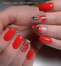 Make an original manicure for Valentine's Day - My Nails Red Nails, Hair And Nails, Cute Nails, Pretty Nails, Red Nail Designs, Flower Nails, Beautiful Nail Art, Nail Arts, Christmas Nails