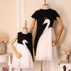 Mommy and Me Pearl Decor Swan Print Tulle Dress