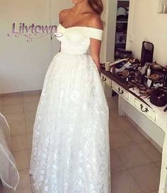 Off the Shoulder Lace Ball Gown Long Evening Dress