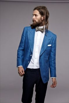 Peacock Blue blazer with black trousers and white shirt. MenStyle1- Men's Style Blog