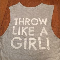 Throw like a girl graphic gray tank top S Cute gray graphic tank size small. The perfect addition to a carefree summer wardrobe!  Tops Tank Tops