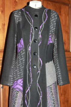 Pat Congleton - Recycled wool coat and sweaters. Refashioned Clothing, Recycled Clothing, Recycled Fashion, Jacket Pattern, Wool Coat, Vests, Upcycle, Gray, Patterns