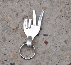 fork peace sign key ring