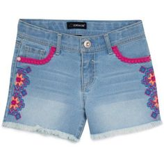 Jordache Girls Destructed Embroidered Short