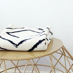 The Anywhere Throw is modern yet classic. Seek & Swoon designs travel-inspired knit cotton blankets in Portland, Oregon. American made from recycled cotton. Perfect Gift For Him, Gifts For Him, Black Throws, Black White Gold, Baby Gift Sets, Knitted Throws, Cotton Blankets, White Patterns, American Made
