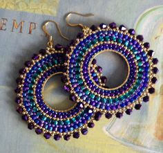 Beaded Hoop Earrings Metallic Plum GODDESS Crystal and Seed