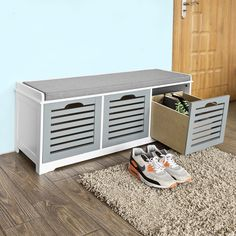 Storage bench with storage compartment
