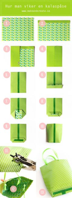 Instructions are Swedish but the pictures are self-explanatory. A4 paper and washi tape and ribbon. Easy peasy. DIY - Make & Create