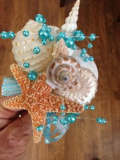 Beach Wedding Seashell Wand Flowergirl  Bouquet Bride by caroledoc, $25.00