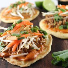 Slow Cooker Thai Peanut Pulled Pork Pizzas #Recipe #SlowCooker #CrockPot