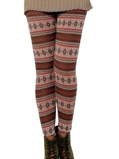 Trendy Thicken Slim Floral Printed Regular Striped Hugging Warm Leggings on buytrends.com