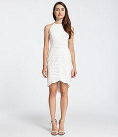 short wedding dress, courthouse wedding, Cynthia Steffe Ryder Lace HiLow Sheath Dress #Dillards