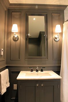 Love the paneling and wall color - Roncesvalles Victorian Reno Diary: Bathroom Reveal