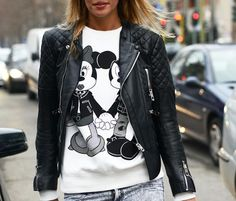 Quilted Leather Biker Jacket and Mickey Mouse T-Shirt