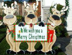 Christmas reindeer trio#wood yard art@bob's creative displays.com