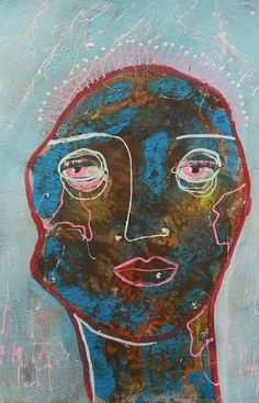 Naive Art  Folk Art Face  Abstract Portrait  by ArtBeatriceM, £14.00