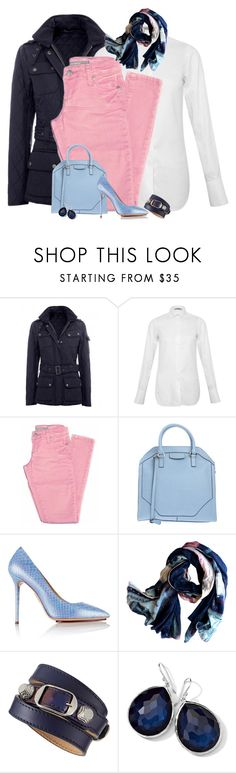 """""""PinkyBlues"""" by hollyhalverson ❤ liked on Polyvore featuring Barbour, Valentino, Tractr, Coccinelle, Charlotte Olympia, Ink & Tailor, Balenciaga and Ippolita"""