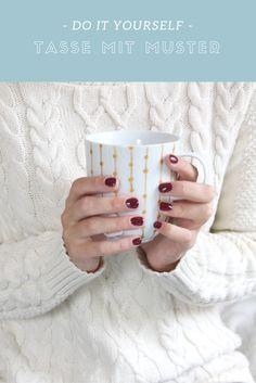 DIY Tasse mit goldenem Muster selber machen