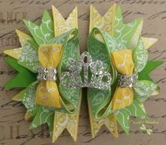 Princess Tiana Hair Bow Tiara Bow Yellow and Green by CreativeFinishesBows