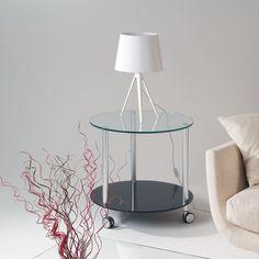 Tavolino+con+ruote+rotondo+Dritter+in+vetro+temperato+diametro+60+cm