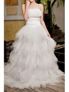 Net Strapless Sweep Train A-line Wedding Dress with Sequins