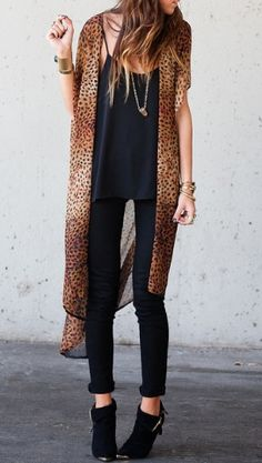 Animal print kimonos. Instead of the black cami, if I'm going for a more dressier look, I'll probably do a Black Sleeveless Peplum Top