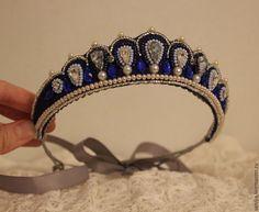 Купить Диадема синяя - темно-синий, тематическая свадьба, тематическая вечеринка, диадемы, диадема эльфийская