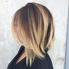 Shoulder Length Bob Haircut with Blonde Balayage Highlights