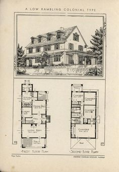 Low Rambling Colonial by Architect Andrew Charles Borzner.  The book of beautiful homes. by Andrew C. Borzner  Published 1932  BookReaderImages.php (607×878)
