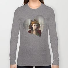 Queen Of Hearts Portrait Long Sleeve T-shirts by apgme - $28.00