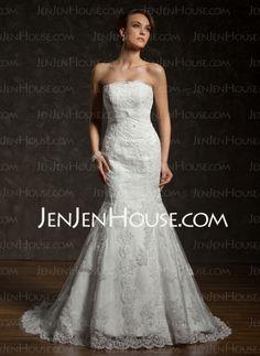 Wedding Dresses - $246.99 - Mermaid Strapless Chapel Train Satin Tulle Wedding Dresses With Lace Beadwork (002000634) http://jenjenhouse.com/Mermaid-Strapless-Chapel-Train-Satin-Tulle-Wedding-Dresses-With-Lace-Beadwork-002000634-g634