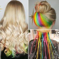 Blonde To Hidden Rainbow - Hair Color Hidden Hair Color, Cool Hair Color, Crazy Hair Colour, Under Hair Color, Kids Hair Color, Creative Hair Color, Hidden Rainbow Hair, Ombre Hair Rainbow, Rainbow Hair Colors