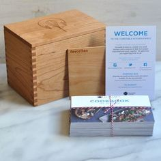 Turntable Kitchen's 'cookbook' in a recipe box is back in stock, and going fast. #gifts