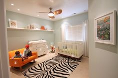 Cute nursery idea! Love the neutral walls with colorful accents.  I think these things are IKEA...