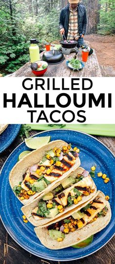 These Grilled Halloumi Tacos are a great vegetarian camping meal. Easy to prepare and even easier to clean up, this is simple camping food at it's best! #camping #vegetarian #grilling #tacos