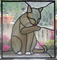 grooming cat #StainedGlassVitrales