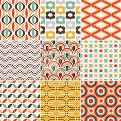 Papier peint seamless retro pattern - cru - art • PIXERS.fr