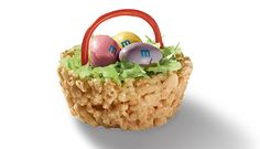 Rice crispy easter basket colored coconut grass licorice handles m and ms or jellybean eggs perfect for easter!!!