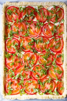 Southern Tomato Slab Pie Recipe - A classic deep south tomato pie recipe made in a sheet pan for easy baking and serving! Sugar Free Recipes, Pie Recipes, Casserole Recipes, Cooking Recipes, Party Recipes, Holiday Recipes, Recipies, Dinner Recipes, Croatian Recipes