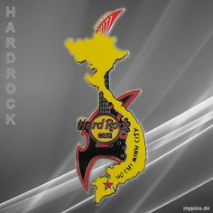 0077 - HRC Ho Chi Minh City, Vietnam. Black Guitar Pin with map of Vietnam in yellow issued 2016. Got as a surprising gift from a friend who visited the cafe in 2018.