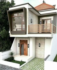via heavywait - modern design architecture interior design home decor & Bungalow House Design, House Front Design, Small House Design, Modern House Design, Narrow House, House Elevation, Facade House, House Layouts, House Goals