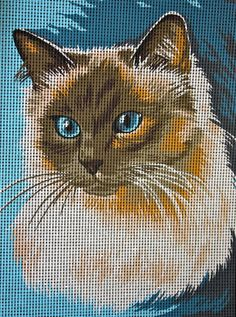 Vintage Siamese Cat Needle Point Cross Stitch Margot Pattern Le Siamois Made in France 12' X 15""
