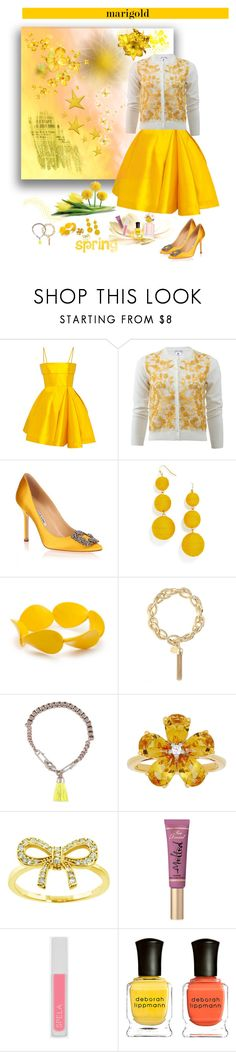 """Dressing in Marigold"" by deborah-518 ❤ liked on Polyvore featuring Alex Perry, Oscar de la Renta, Manolo Blahnik, BaubleBar, Kim Rogers, Liz Claiborne, French Connection, David Tutera, Eternally Haute and Too Faced Cosmetics"