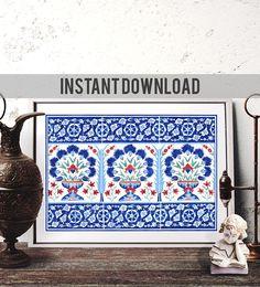 Printable Art Ottoman Blue Carnation Vase Watercolor Art