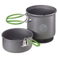 Highly versatile and efficient 2-piece hard anodized aluminum cook set. The special heat\rexchanger reduces G Camping With Kids, Outdoor Camping, Camping Ideas, Camping Kitchen, Camping Cooking, Camping Dishes, Camping Outdoors, Camping Crafts, Decoration Home